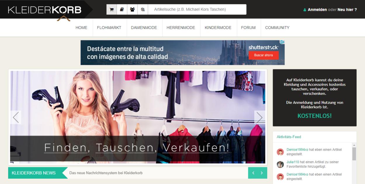 Screenshot Kleiderkorb Startseite März 2019