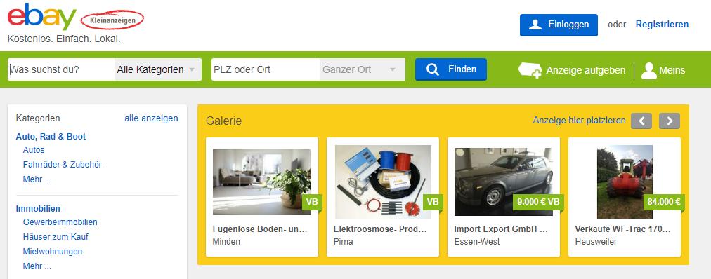 Screenshot eBay Kleinanzeigen Startseite März 2019