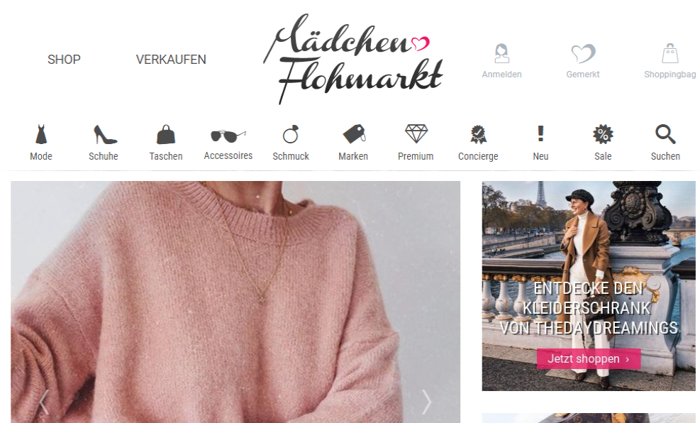 Screenshot Mädchenflohmarkt Startseite März 2019