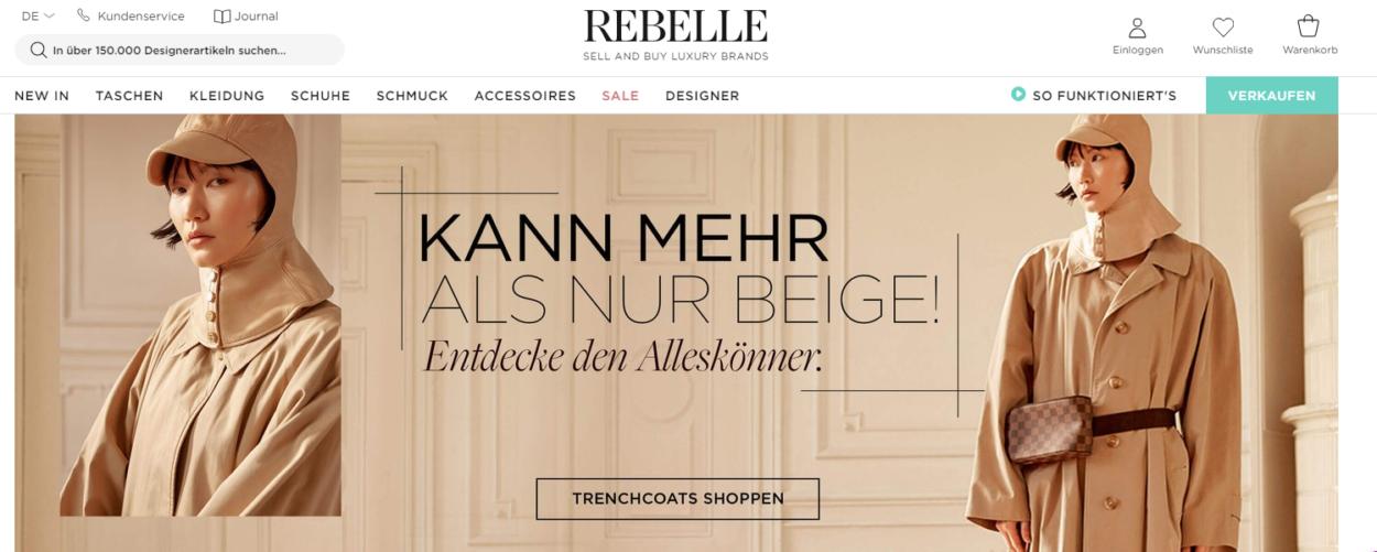 Screenshot Rebelle Startseite März 2019
