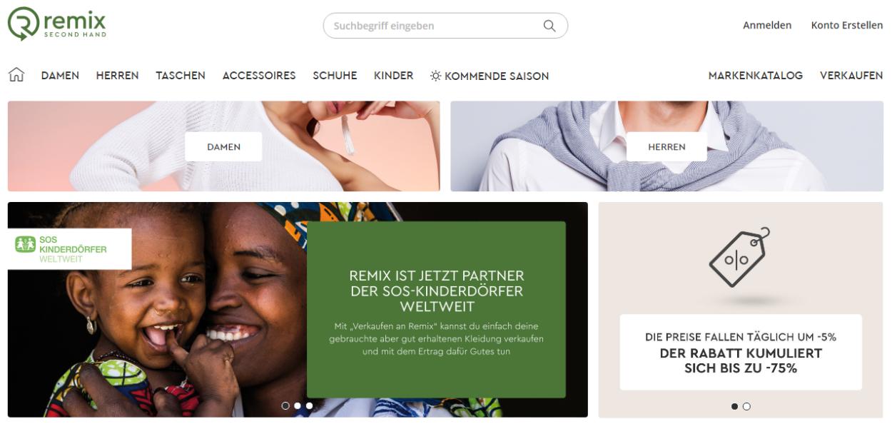 Screenshot Remix Startseite März 2019