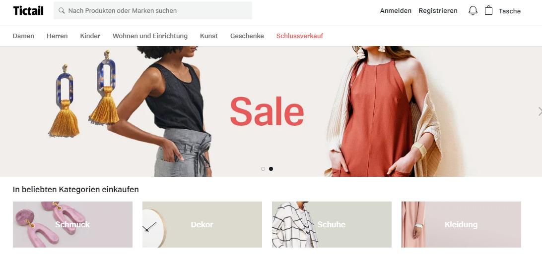 Screenshot Tictail Startseite März 2019