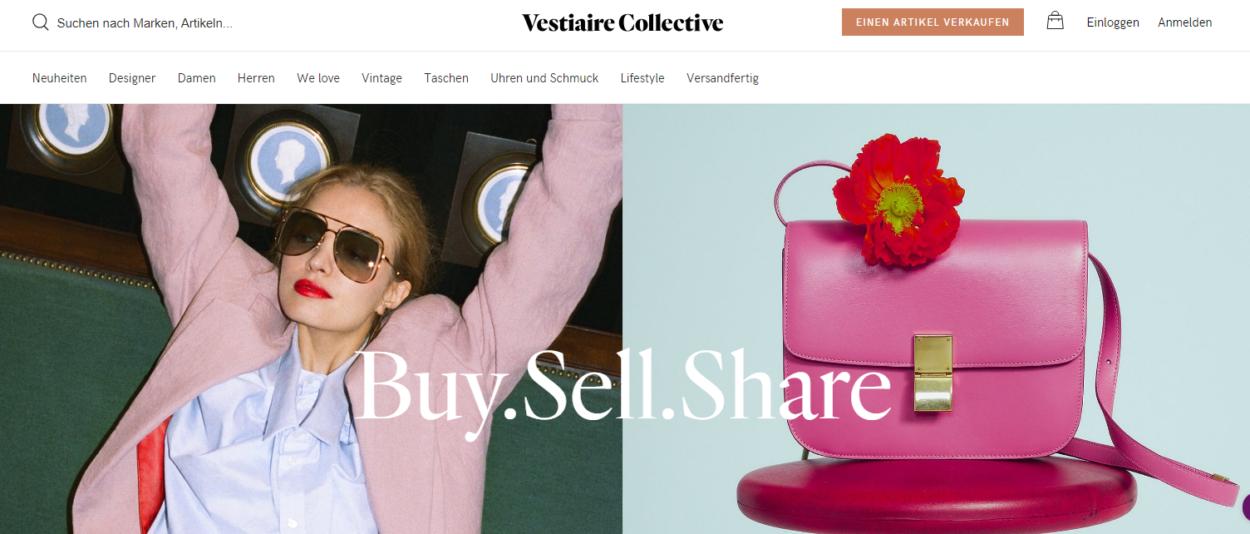 Screenshot Vestiaire Collective Startseite März 2019