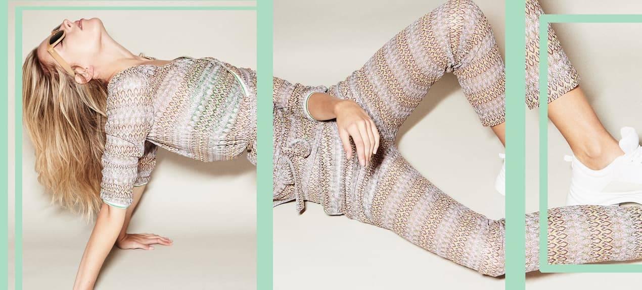 Model trägt Athleisure-Look Wickeltop und Hose im Ajourstrick