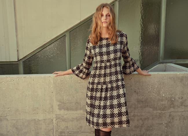 Model wears checked Boho-Dress