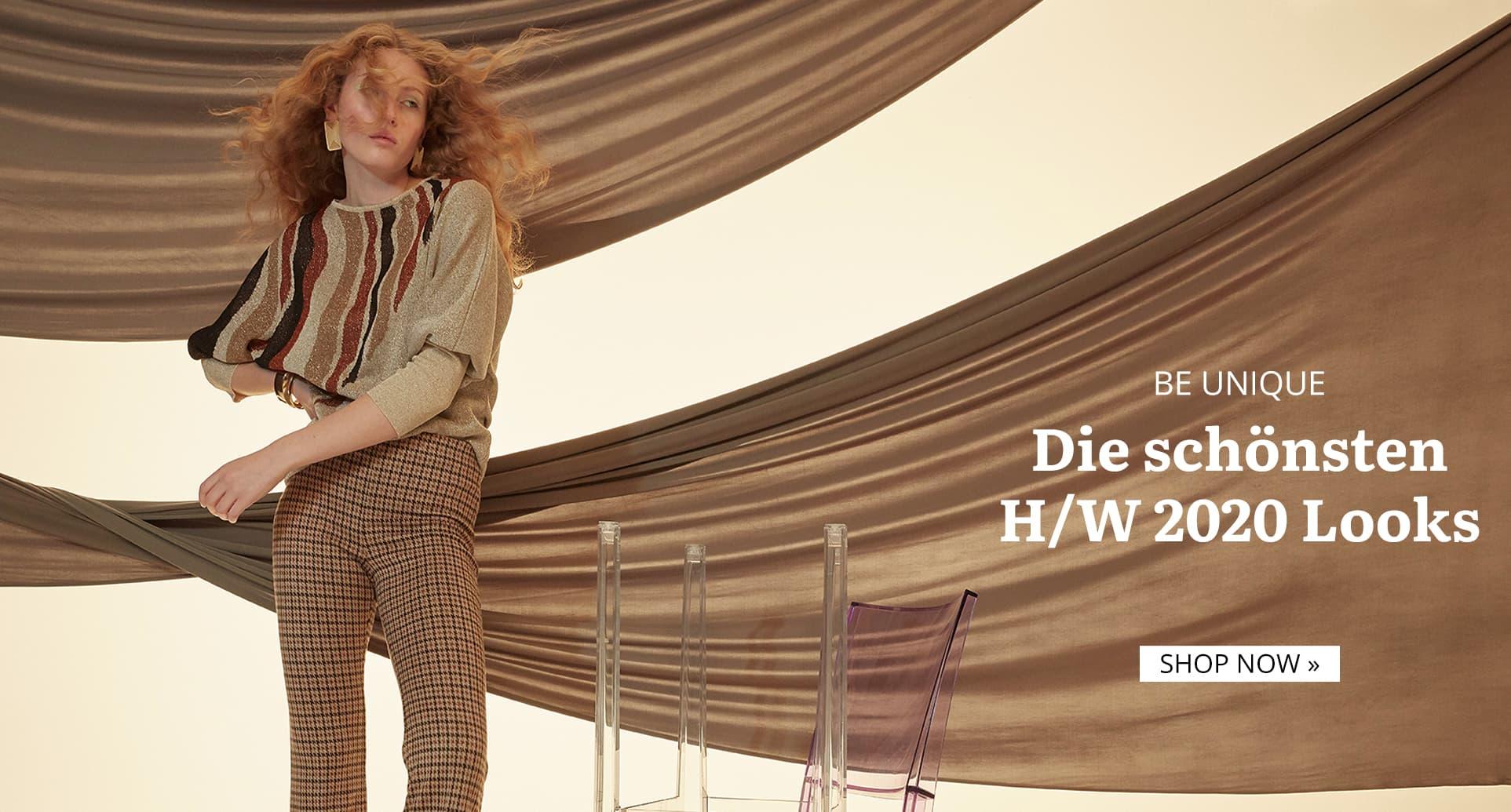 Model trägt Lurex-Pullover mit Hahnentritt-Hose