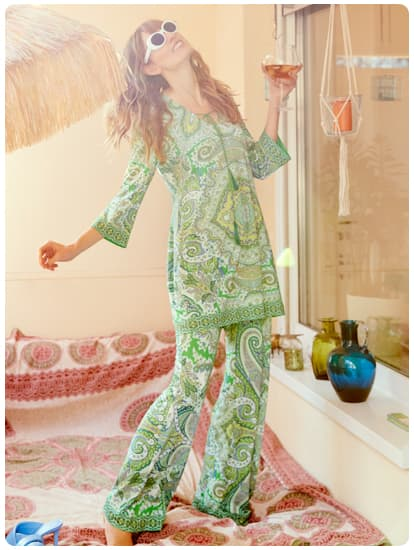 Model wears Tunic Dress & Trousers Spring Collection 2021