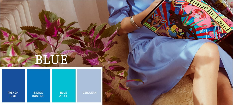 Nieuwe zomercollectie voor zomer 2021 in Pantone-trendkleur blauw, French Blue, Indigo Bunting, Blue Atoll, Cerulean