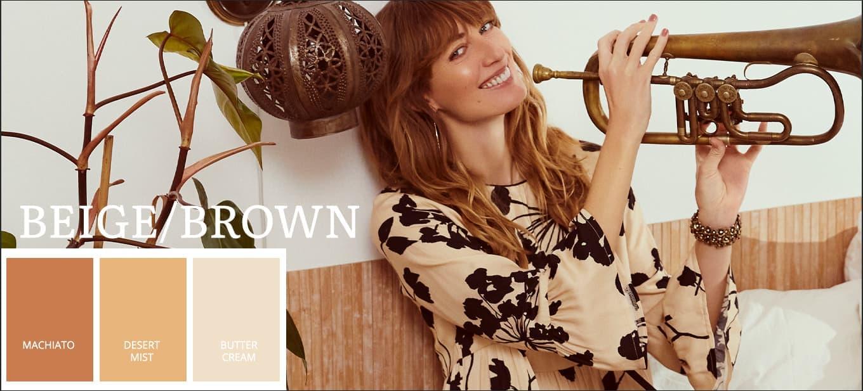 Sommerkleider 2021 Pantone Farbtrends in Braun, Beige, Machiato, Desert Mist, Butter Cream