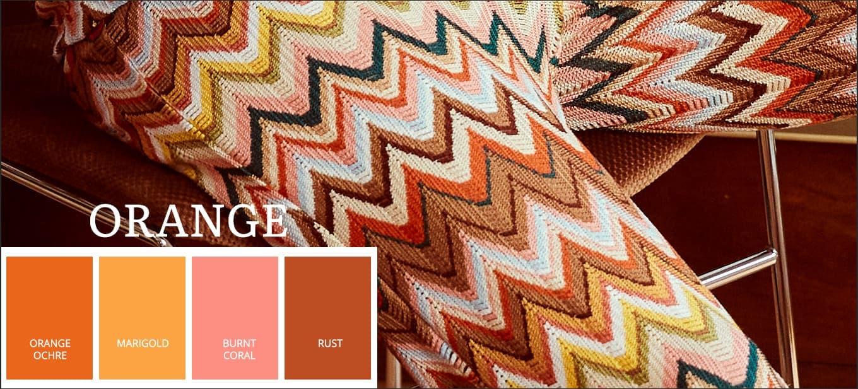 Neueste Pantone Farbtrends 2021 in Orange Ochre, Marigold, Burnt Choral, Rust