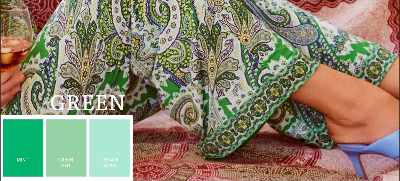 Pantone kleurentrends zomer 2021 in groen, Mint, Green Ash, Beach Glass