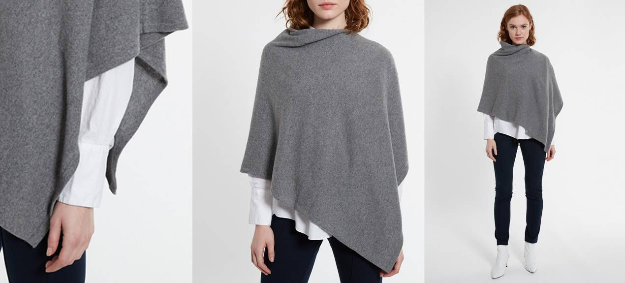 Model trägt grauen Kaschmir-Poncho
