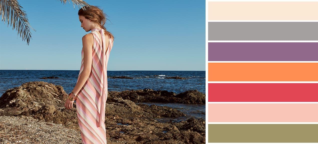 Passende Farben zu Rosa mit Model in langem Rosa Maxikleid