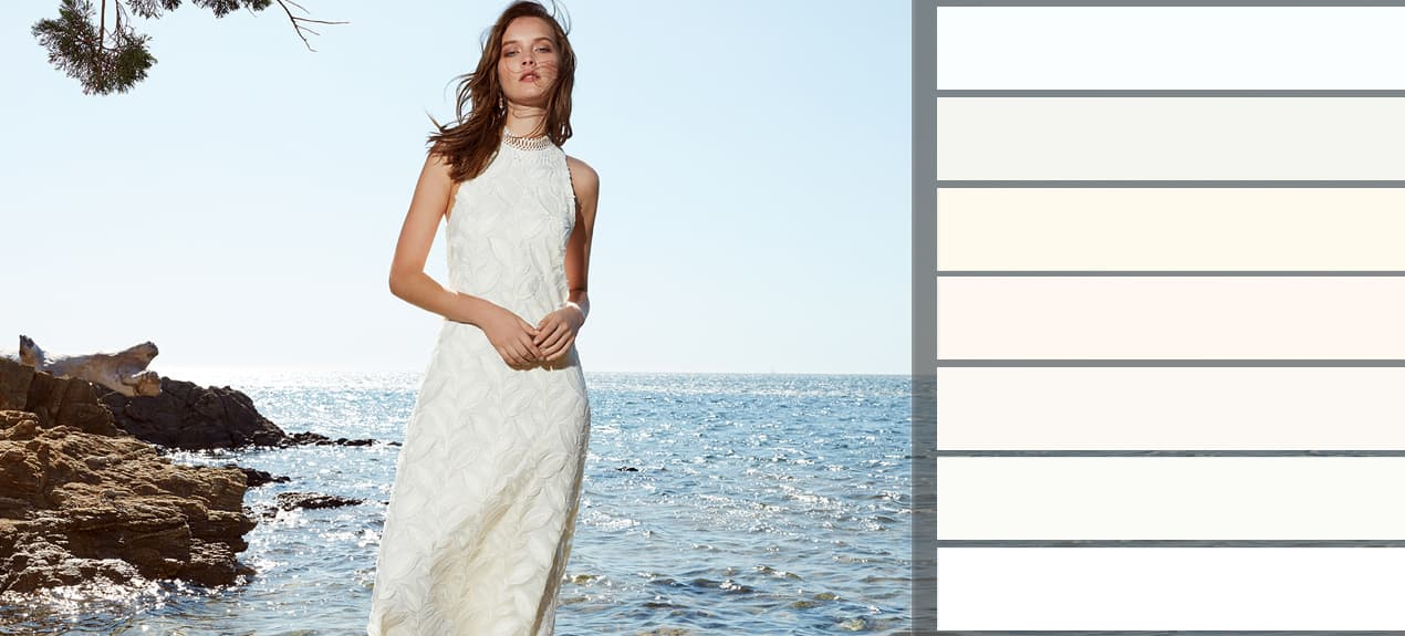 Farbpalette an Weißtönen mit Model im weißen Standesamtkleid