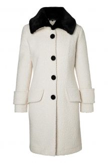 Ana Alcazar Fake Fur Coat Olea White