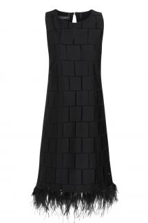 Ana Alcazar Feathers Dress Samana Black