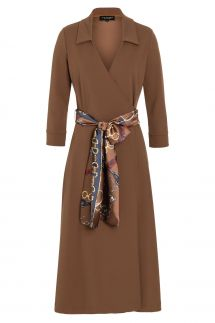 Ana Alcazar Wrap Dress Vafeisy Brown