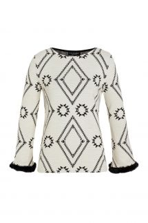 Ana Alcazar Fake Fur Top Vafoma White