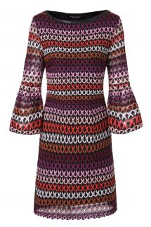 Ana Alcazar Volant Sleeve Dress Plyena Bordeaux