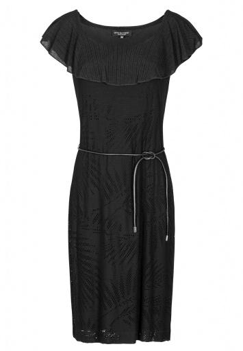 Ana Alcazar Volant Dress Black Fareta
