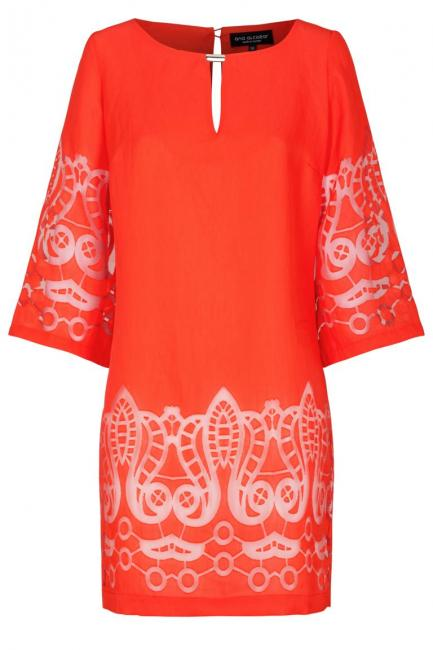 Ana Alcazar Tunic Dress Red-White Feya