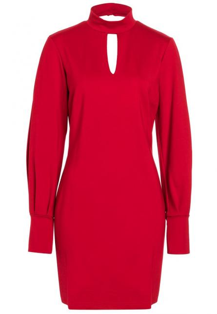 Ana Alcazar Puff Sleeve Dress Resyea Red