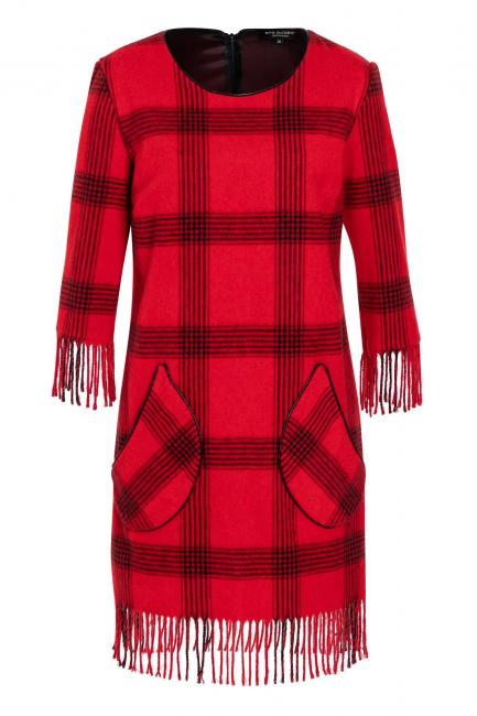 Ana Alcazar Fringe Dress Vabasi Red