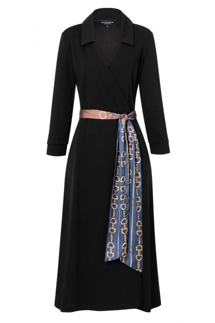 Ana Alcazar Wrap Dress Vafeisa Black