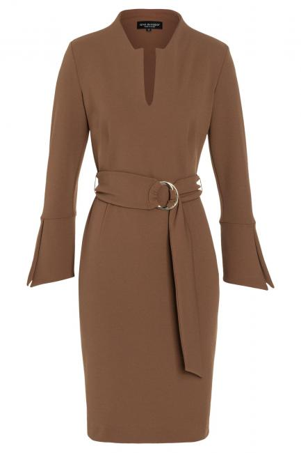 Ana Alcazar Tight Dress Vafewis Brown