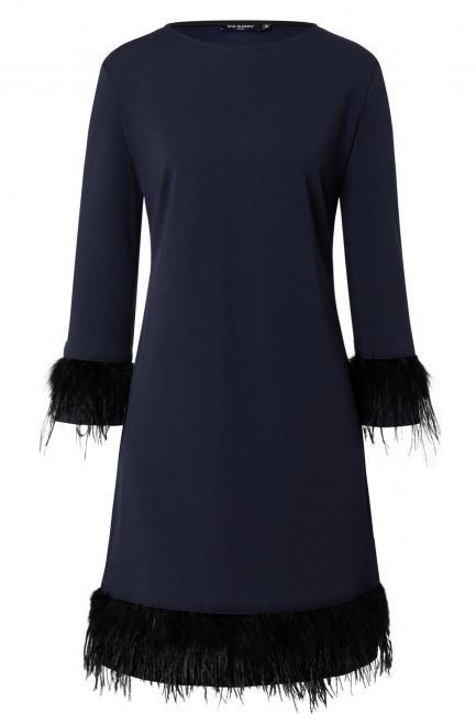 Ana Alcazar Kleid mit Federn Wafosy Blau