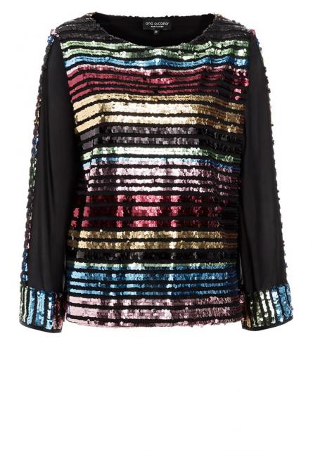 Ana Alcazar Black Label Sequin Top Ruby