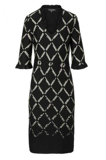 Ana Alcazar V-Neck Dress Pranara Black-White