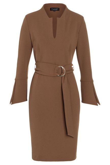 Ana Alcazar Tight Dress Vafewis Brown