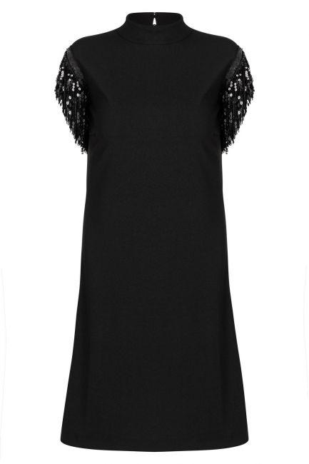 Ana Alcazar Fringe Dress Waeta Black