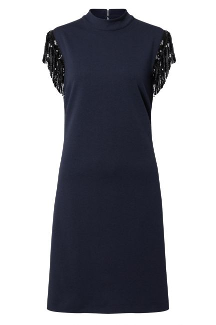 Ana Alcazar Fringe Dress Waety Blue