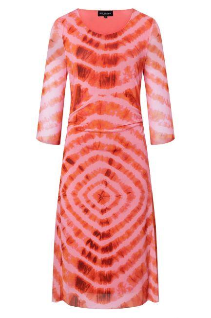 Schlichtes Kleid Zikme aus rosa Batik-Mesh mit 3/4-Arm ...