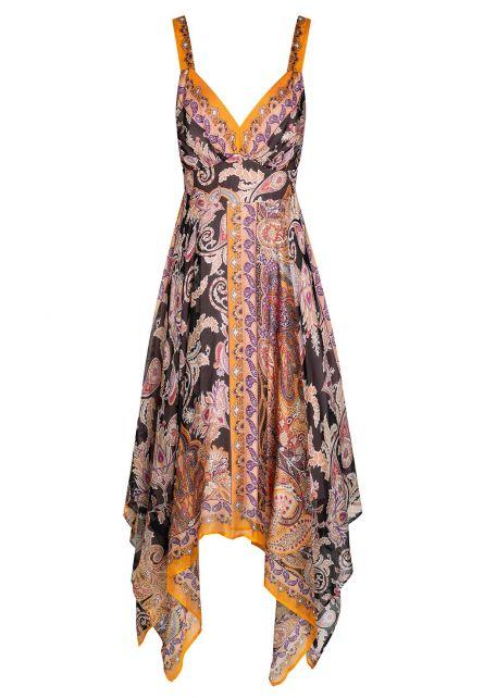 Ana Alcazar Silk Dress Zeza Dark