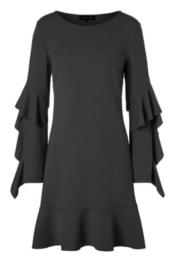 Ana Alcazar Volant Sleeved Dress Philia Black