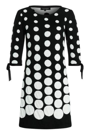Ana Alcazar Sleeved Dress Palmara Black-White
