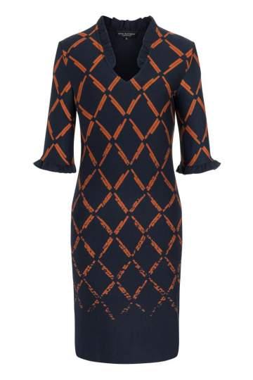 Ana Alcazar V-Ausschnitt Kleid Pranyra Blau-Orange