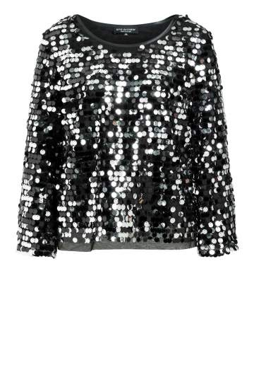 Ana Alcazar Glam Sequin Top Rheta Black