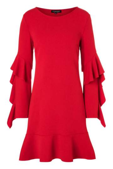 Ana Alcazar Volant Sleeved Dress Philie Red