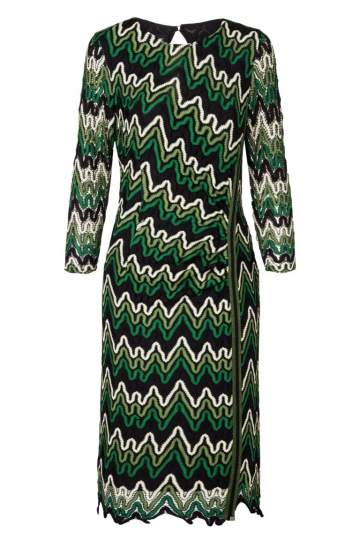 Ana Alcazar Lurex-Stripe Dress Photysa Green