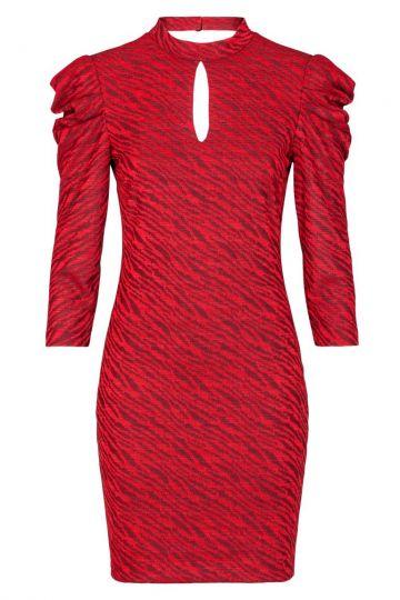 Ana Alcazar Puffärmel Kleid Kimy Red