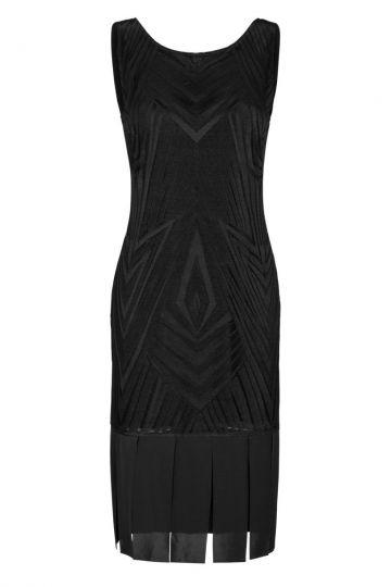Ana Alcazar Dress Fringes Black Felisy