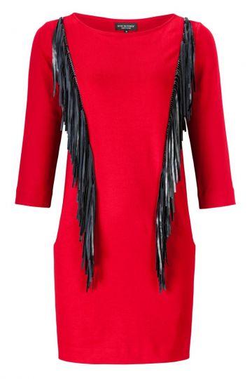 ana alcazar Fringes Dress Zomody Red