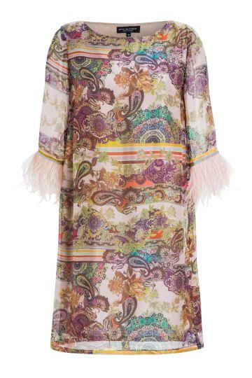 Ana Alcazar Silk Dress Feathers Madaley
