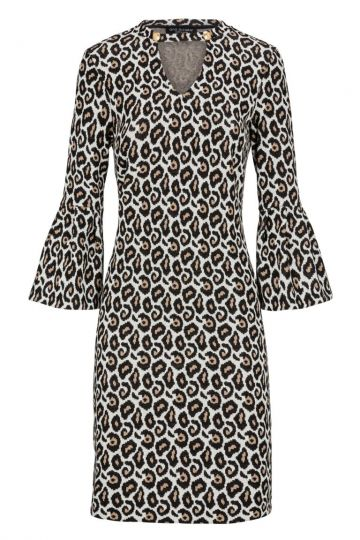 Cut-Out Kleid Dyonis mit Animal-Print | Ana Alcazar