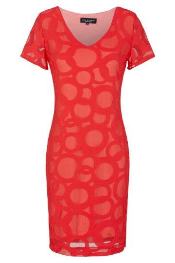Rotes Kurzarmkleid mit Kreis-Muster | Ana Alcazar