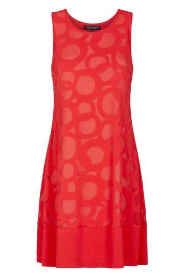 Rotes Hängerchen Kleid mit Kreis-Muster | Ana Alcazar